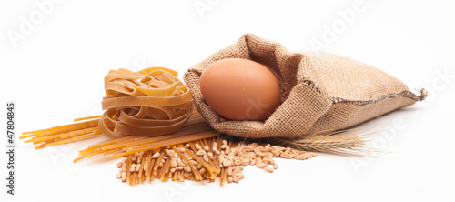 pasta assortment on white background