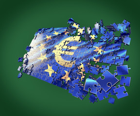 The European Union puzzle with Euro symbol  economic crisis