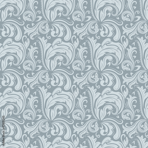 Seamless gray winter colored floral pattern.