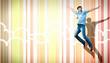 young man dancing and jumping...