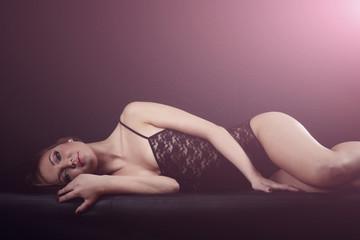 lace bodysuit lying blonde girl