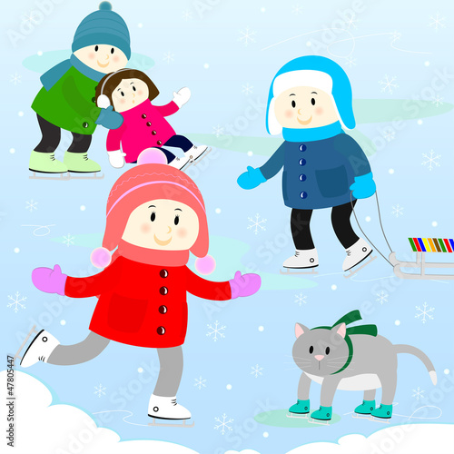 children on a skating rink