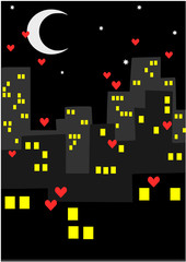 City at night - a lot of hearts.