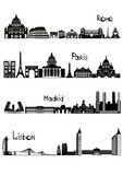 Sights of Rome, Paris, Madrid and Lisbon, b-w vector