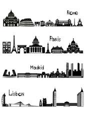 Sights of Rome, Paris, Madrid and Lisbon, b-w vector