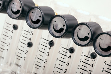 Airflow gauges valves set at a smiling position - macro shot