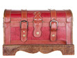worn leather chest or trunk isolated