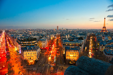 View of paris from Arc de triomphe, with the Eiffel tower