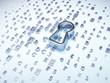 silver keyhole on digital background