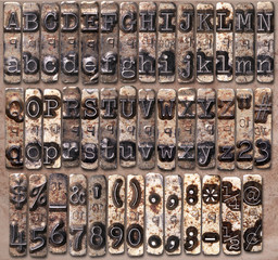 Typewriter metal alphabet