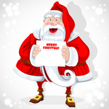 Cute Santa Claus hold banner with Christmas greetings