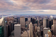 New York City -  Manhattan skyline aerial view at sunset