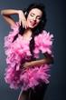 Artistic Woman - Fancy Dress Party. Happy DJ Having Fun