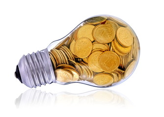 Golden lightbulb,  creative symbol  of  renewable energy sources