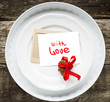 Card with Message With Love on White Plates
