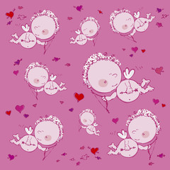 seamless background with cupids and hearts