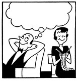 a couple with a large speech bubble above
