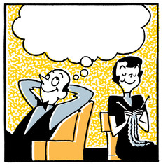 couple with a large speech bubble above