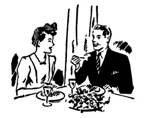a couple enjoying a meal at a restaurant