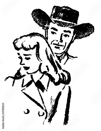 a cowboy and a sad looking woman