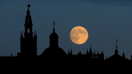 Spain Seville Cathedral and Giralda Tower moonrise