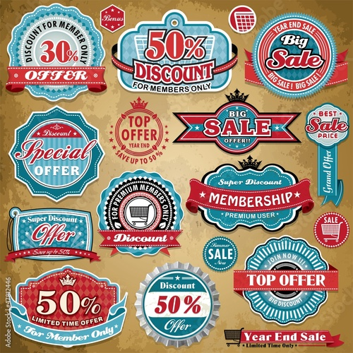 Vintage Sale frame label set template
