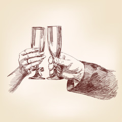 Two hands with champagne glasses
