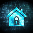 Security concept: home on digital background