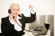 Geschäftsfrau jubelt