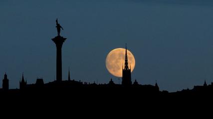 Sweden Stockholm moonrise