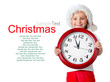 cute little girl in santa cap with a clock