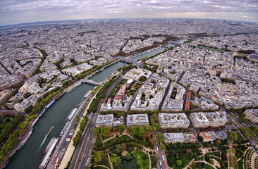 Paris scene city, view from Eiffel Tower, France