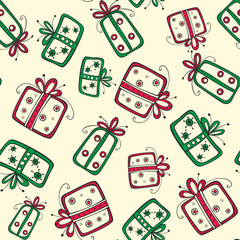Seamless pattern with christmas red and green gifts on the yello