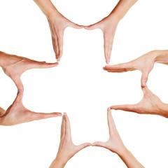 Hände bilden ein Kreuz als Arzt Symbol