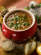 traditional christmas lentils soup, selective focus