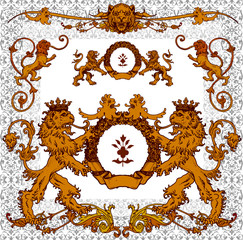 heraldic lions, page decoration and design elements