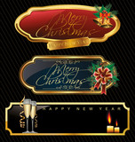 Elegant Merry christmas golden frames