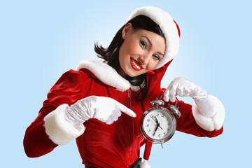 christmas girl in santa hat