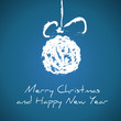 dark blue drawing christmas card with christmas ball