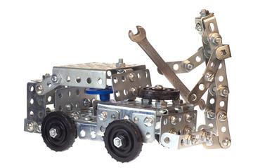 Motor mechanic-robot working in auto repair service.