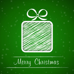 dark green christmas frame with scribbled gift