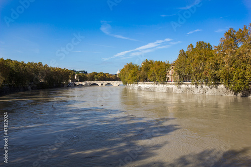 Tiber River and the footbridge Ponte Sisto, Rome, Italy