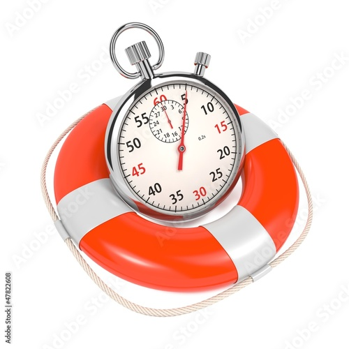 StopWatch  in Lifebuoy on White Background.