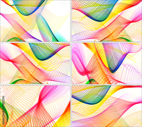 colorful wavy lines, business card & background set
