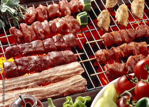 brochettes,bacon and chicken wings barbecue
