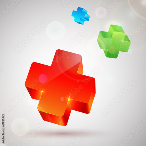 Plus symbol. Abstract colorful background