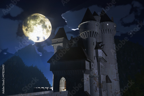Castle at Night in the Mountains 3D render