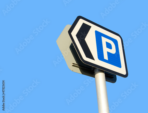 car parking sign on blue sky background