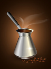 Coffeemaker with coffee beans. Vector illustration.