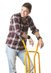 Smiling man with cart used for transport